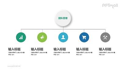 简约的组织架构PPT图示下载