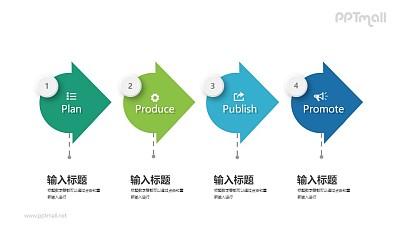 递进关系的四要点PPT图示下载