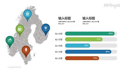 地区数据对比圆弧形柱状图PPT图示下载