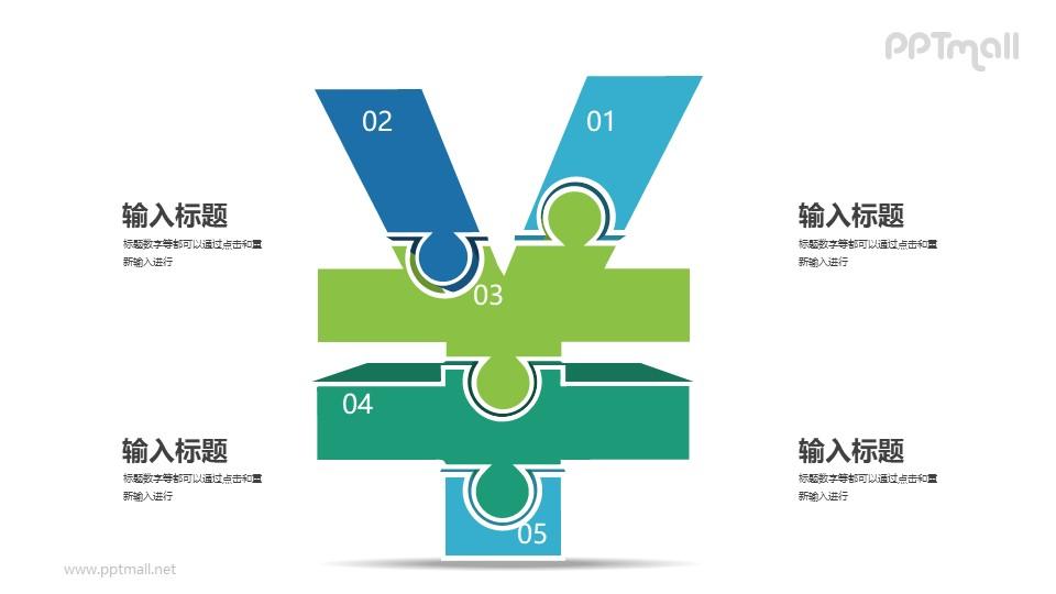 5块拼图组成的3D立体人民币符号PPT图示下载