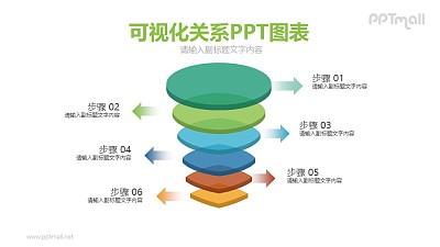 不同色彩的立体形状排列PPT图示下载