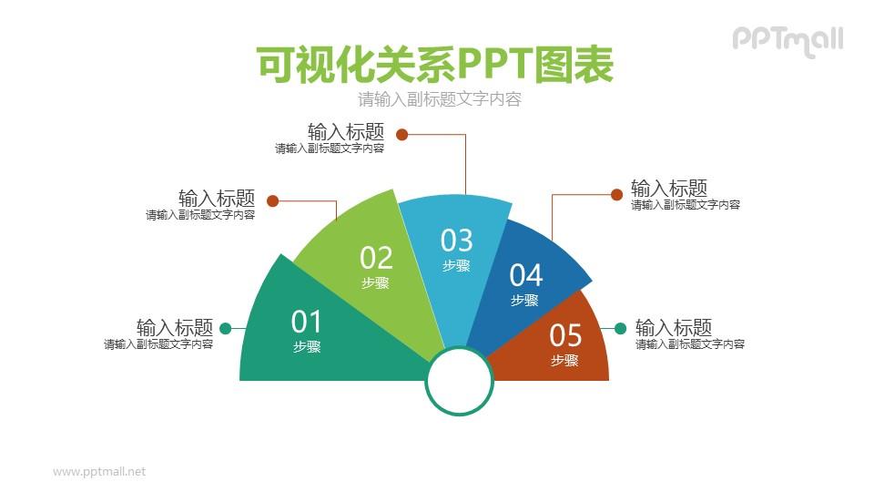 5部分贝壳图PPT模板图示下载