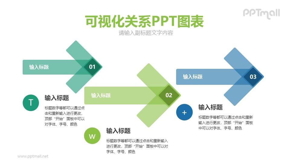 三个半透明的箭头PPT模板图示下载