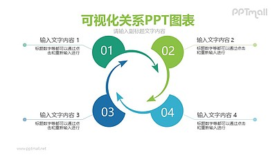 4部分带旋转箭头的循环关系PPT模板图示下载