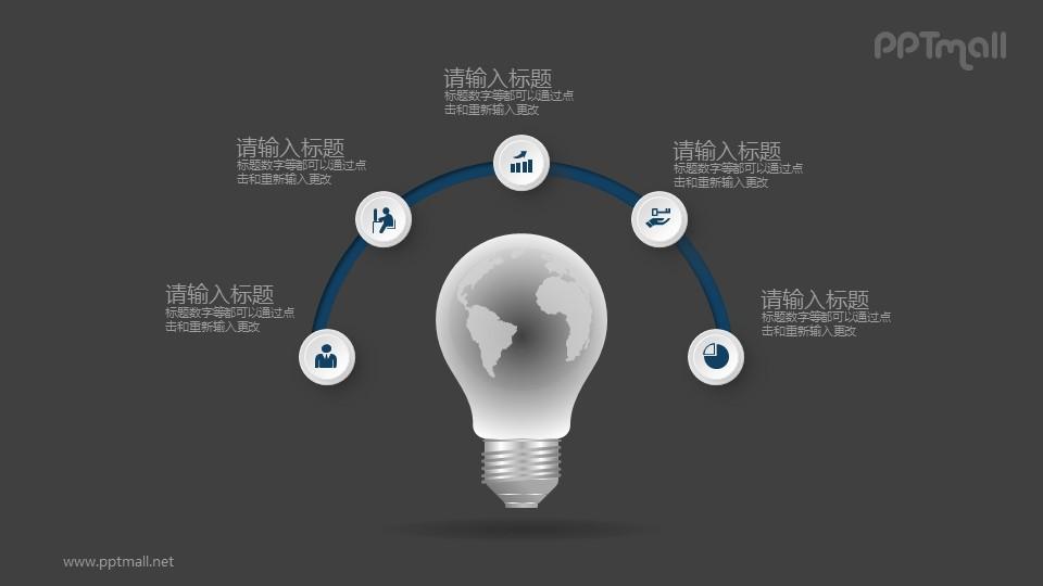 电灯泡发散4部分并列关系PPT素材图示下载