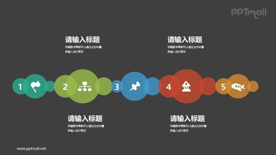 用气泡来表示的时间轴PPT图示下载