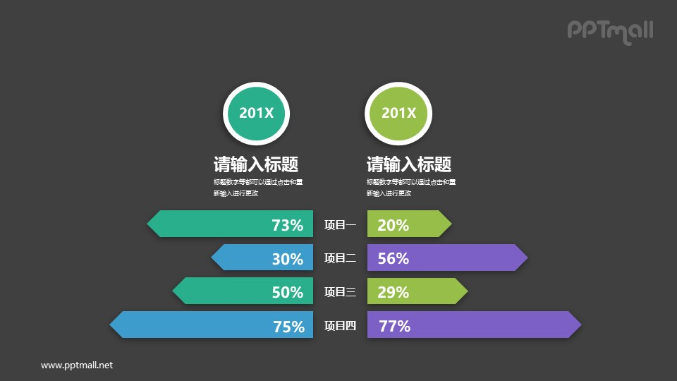 左右两组数据对比柱状图PPT图示下载