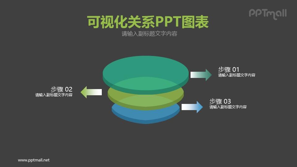 三个立体圆饼PPT图示下载
