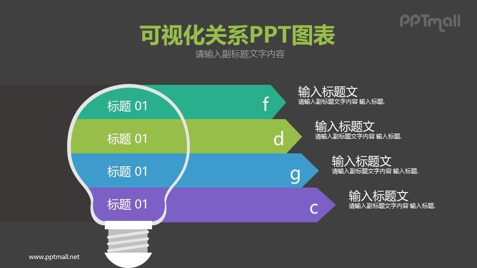 电灯泡/节能灯四部分说明PPT模板图示下载