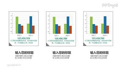 三组柱状图数据对比分析PPT素材下载