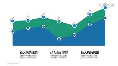 微立体折线图/面积图PPT素材下载