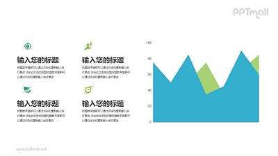 扁平化折线图/面积图PPT素材下载