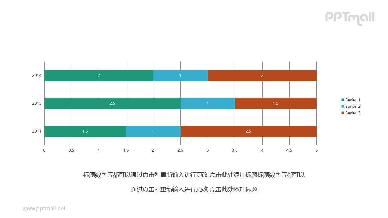 简约三色条形图PPT图表素材下载