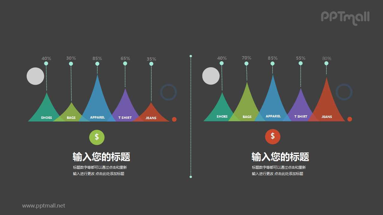 2部分火山图/柱状图数据对比PPT素材下载