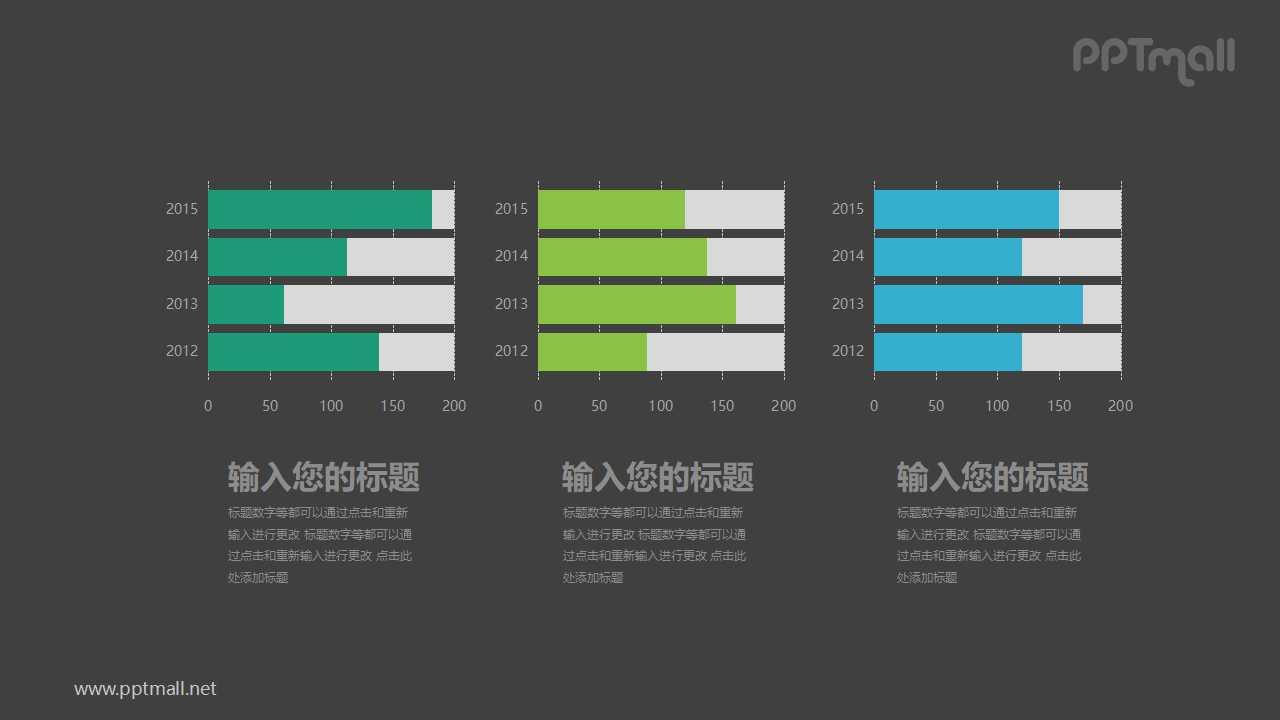 并列排布的三组柱状图PPT图表素材下载