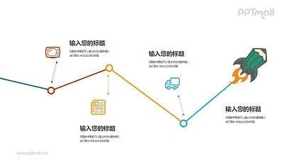 四部分递进关系折线图PPT模板图示下载