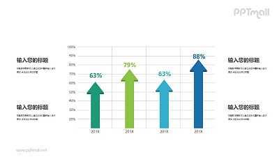 蓝绿色箭头图表对比关系PPT模板图示下载