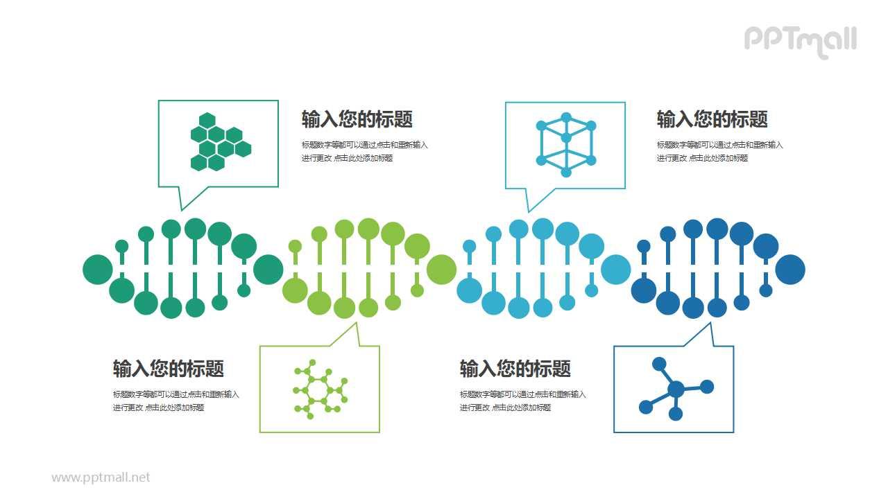 基因序列生物医学并列关系PPT模板图示下载