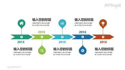 五个连续的箭头组成的时间轴PPT模板图示下载