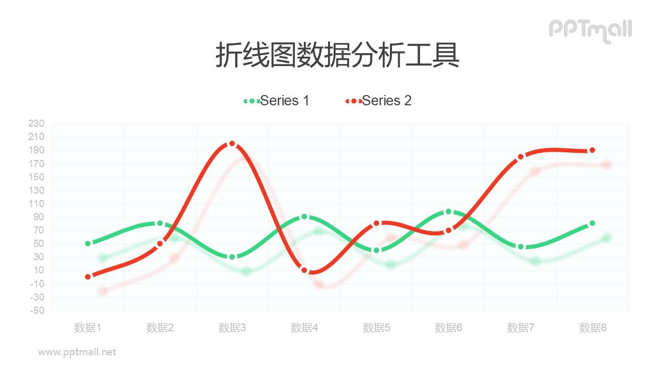 带标记点的红绿折线图PPT素材下载