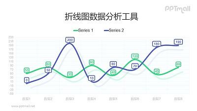 紫色和绿色带气泡标记的平滑折线图PPT素材下载