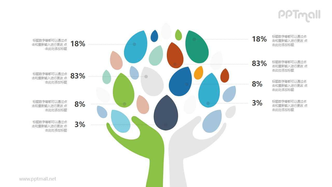 双手托起树叶组成的树PPT模板图示下载