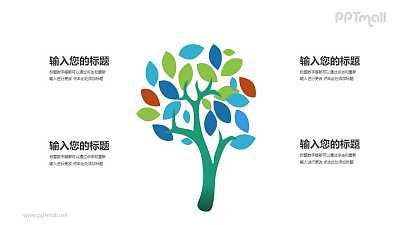 一棵彩色的树四部分文本说明PPT模板图示下载