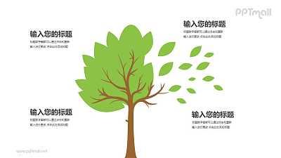 树和落叶四部分文本说明PPT模板图示下载