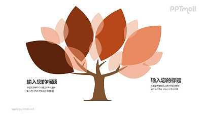 树和红色的树叶两部分对比关系PPT模板图示下载
