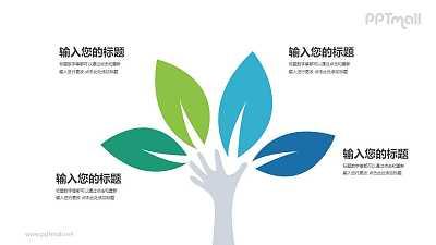 一只手和四片树叶组成的树PPT模板图示下载