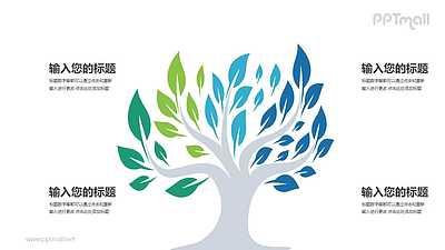 一棵茂盛的彩色大树四部分文本说明PPT模板图示下载