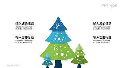 三棵圣诞树四部分文本说明PPT模板图示下载