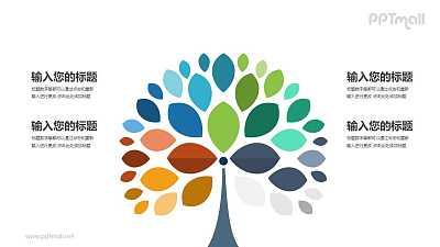 多彩的树时尚简约四部分要点说明PPT模板图示下载