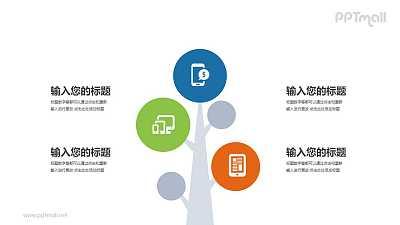 一棵树上挂满通讯设备图标PPT模板图示下载