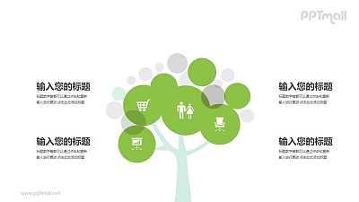 简约风绿色生活树样式的PPT模板图示下载