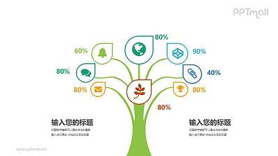 图标汇聚成的树百分比图文说明PPT模板图示下载