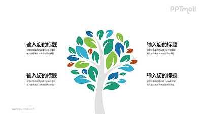 生长茂盛的彩色大树PPT模板图示下载