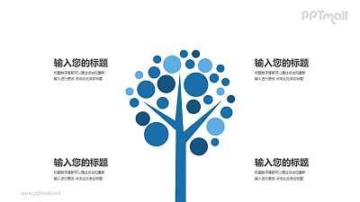 蓝色的树简约时尚四部分文本说明PPT模板图示下载