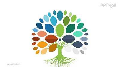 树叶茂盛多彩的树思维发散PPT模板图示下载