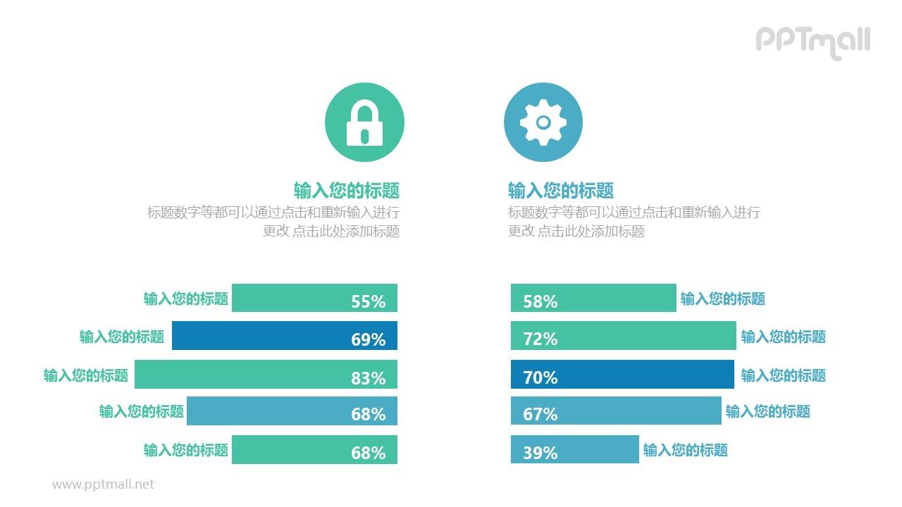 蓝绿两部分条形图百分比对比关系PPT模板图示下载