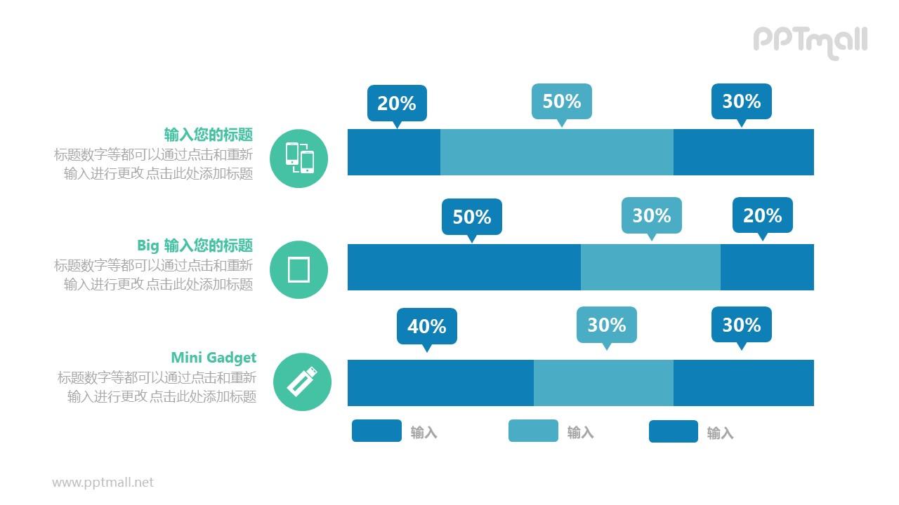 三个百分比堆积条形图对比关系PPT模板图示下载