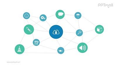 多组图标相互连接组成的关系网PPT模板图示下载