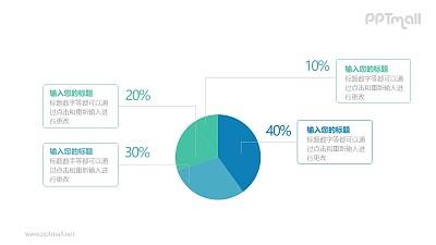 一个分为四部分的饼状图百分比对比关系PPT模板图示下载