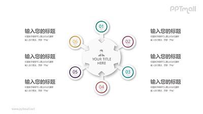 六部分汇聚关系立体圆盘PPT模板图示下载
