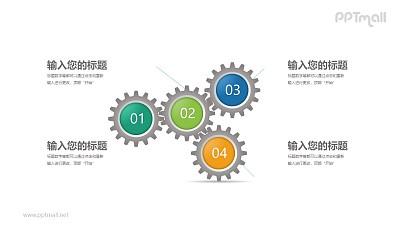 4个相互连接的齿轮文本说明PPT模板图示下载