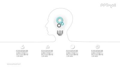 齿轮灯泡外部是人脑形状的线条PPT模板图示下载