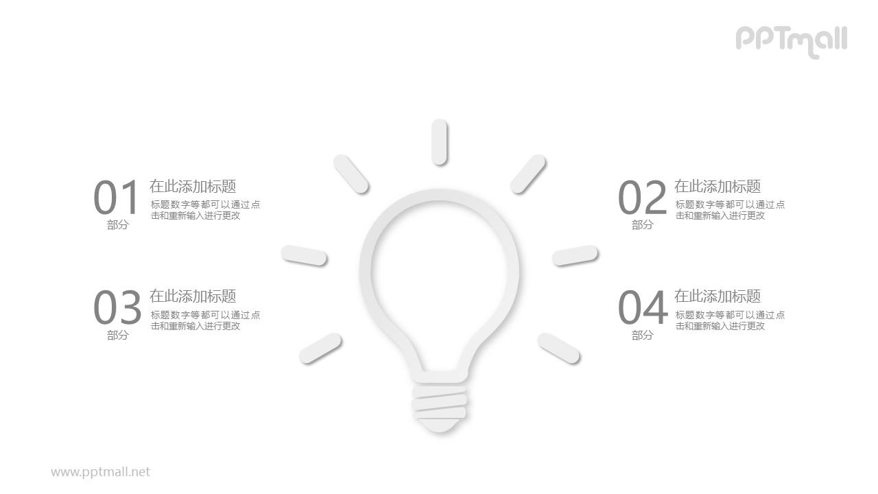 简约风发光的灯泡PPT模板图示下载