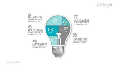 五部分拼接而成的灯泡PPT模板图示下载