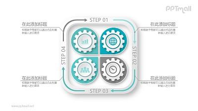 四个齿轮花瓣样式循环图PPT模板图示下载