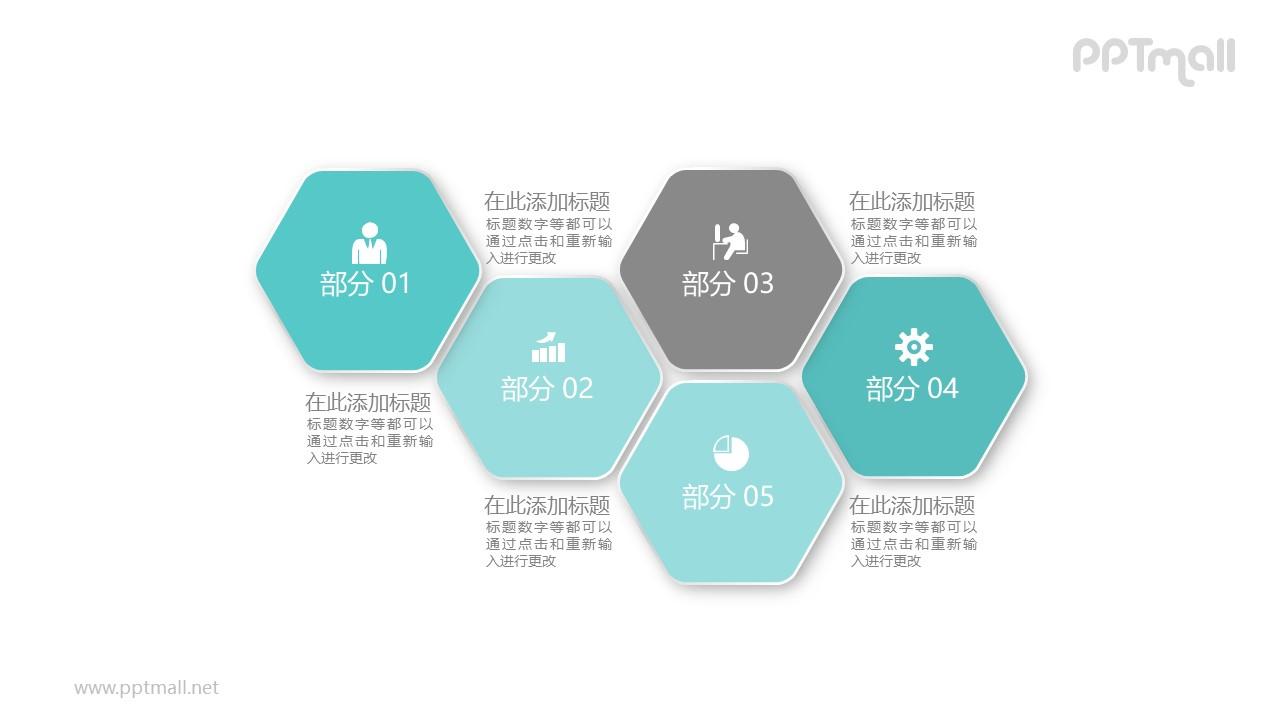 五个相互连接的六边形PPT模板图示下载